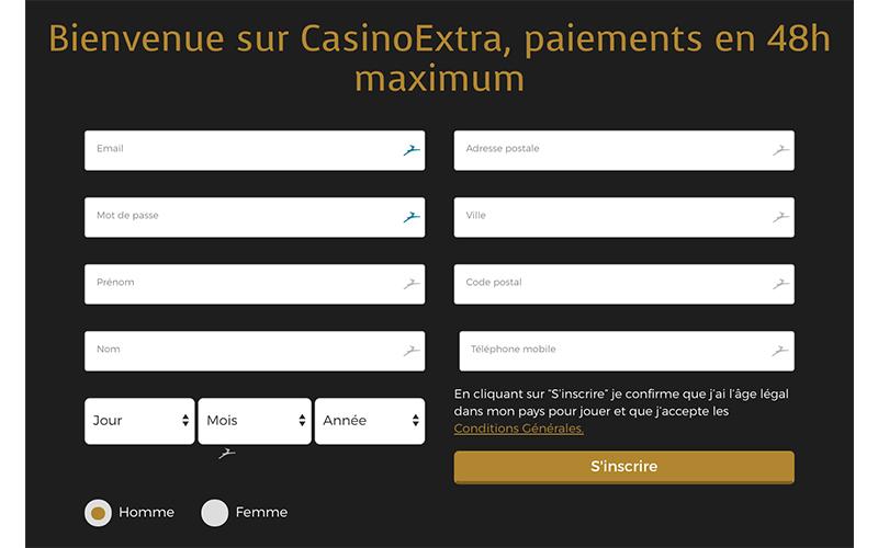 casino extra inscription