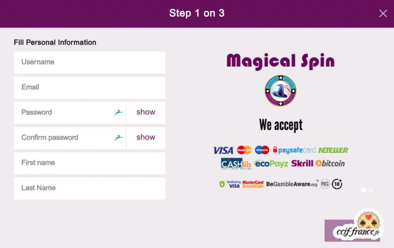 processus d'inscription sur magical spin