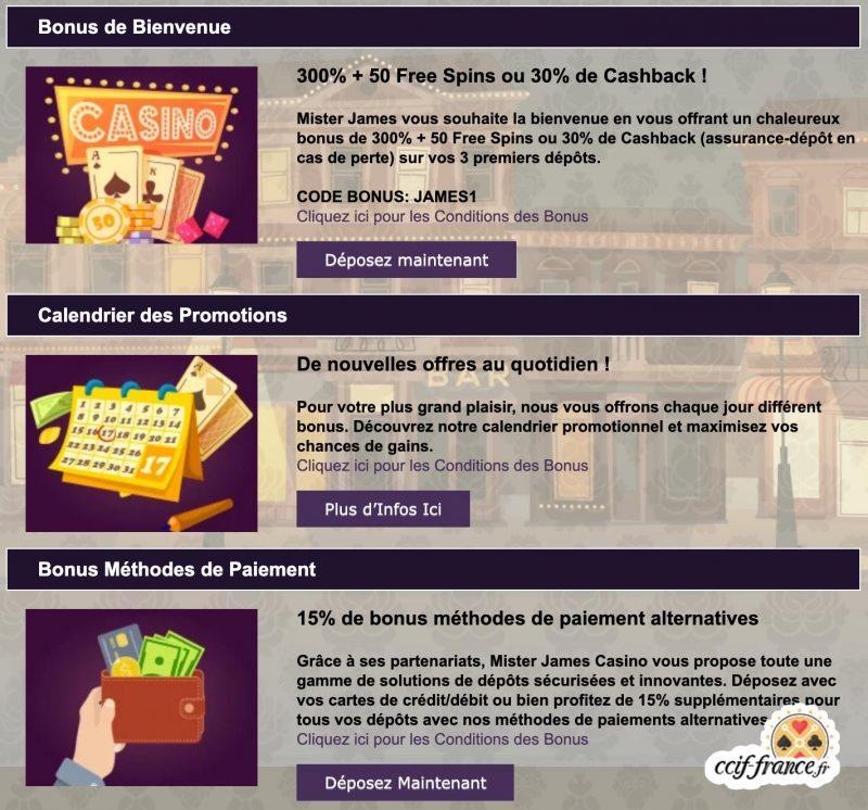bonus offerts par mr james casino