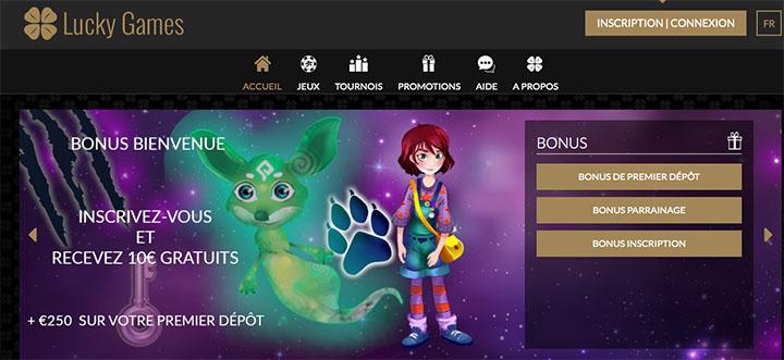 luckygames interface du casino