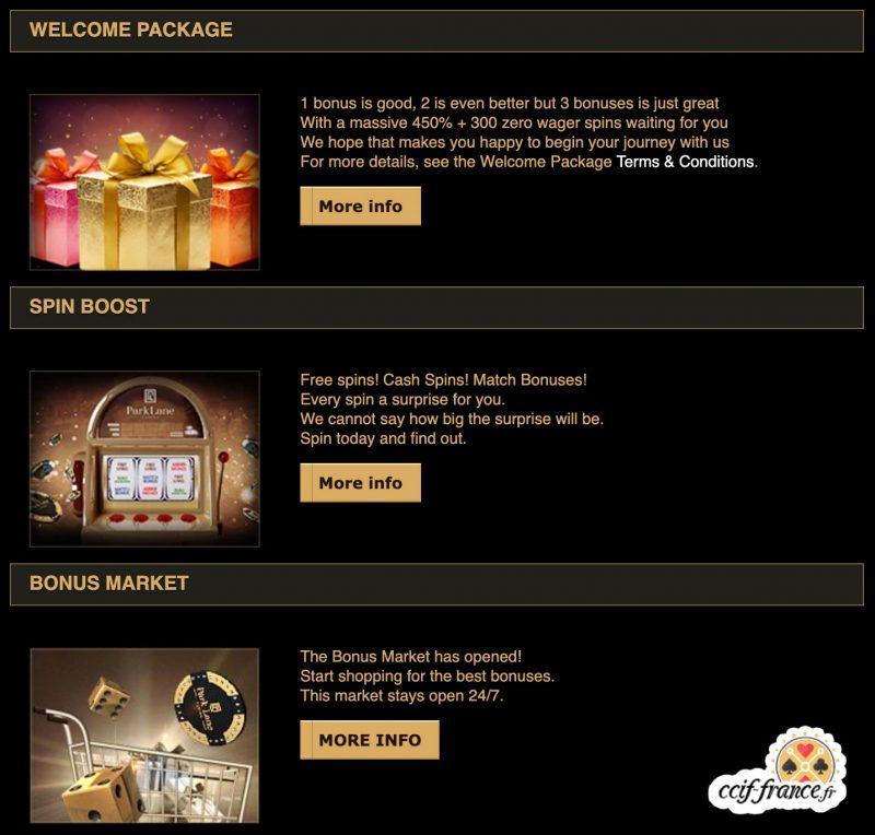 bonus proposés par parklane casino