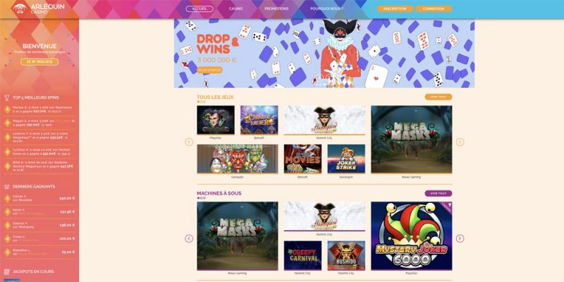 screenshot arlequin casino interface