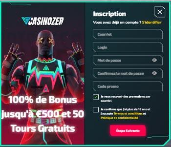 screenshot casinozer inscription