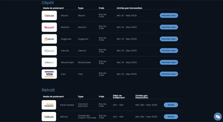 screenshot fireslots payment methods